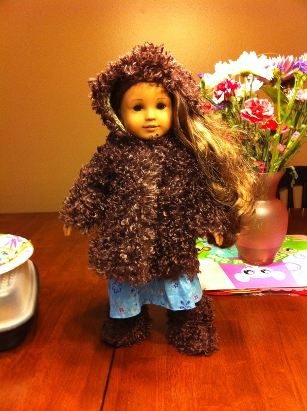 Furry Coat and Boots on doll