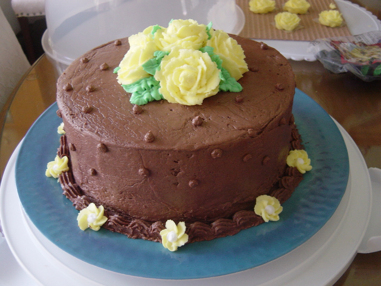 Chocolate and Yellow Rose Cake